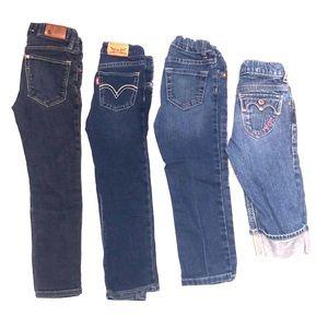 Bundle lot of 4 little girls 4, 4T & 5 jeans pants
